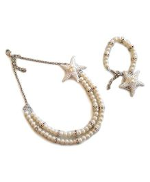 Soulfulsaai Pearls & Starfish Necklace & Bracelet - White