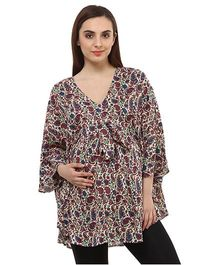Oxolloxo Maternity Long Top Front Tie-Up Style - Multi Color