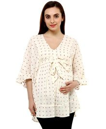 Oxolloxo Maternity Long Top Dobby Motifs - Off White