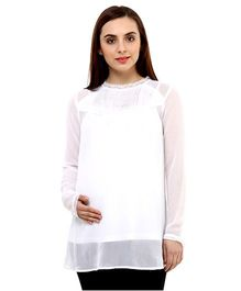 Oxolloxo Maternity Top With Lace Details - White