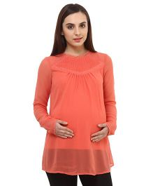 Oxolloxo Maternity Top With Lace Details - Rust Red