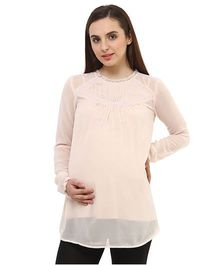 Oxolloxo Maternity Top With Lace Details - Peach