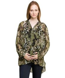 Oxolloxo Full Sleeves Maternity Top Military Print - Green