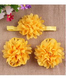 Pikaboo Full Bloom Barefoot Sandals And Headband Set - Yellow