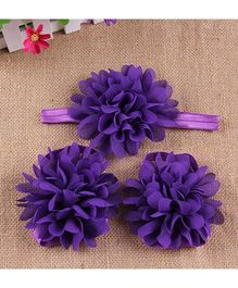 Pikaboo Full Bloom Barefoot Sandals And Headband Set - Purple