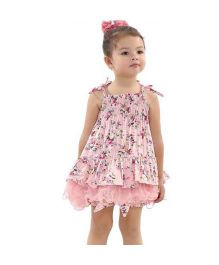Tickles 4 U Vintage Floral Tie Up Dress - Pink
