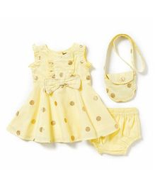 Chicabelle Polka Dot Dress With Matching Bag - Yellow & Golden