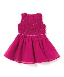 Chicabelle Girls Dress With Gota Work - Fuschia Pink