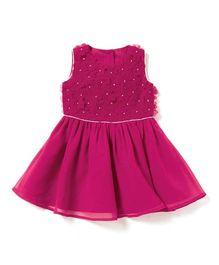 Chicabelle Girls Dress With Gota Work - Fuschia Pink