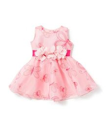Chicabelle Beautiful Butterfly Printed Dress - Pink