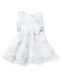 Chicabelle Beautiful Butterfly Printed Dress - White & Blue