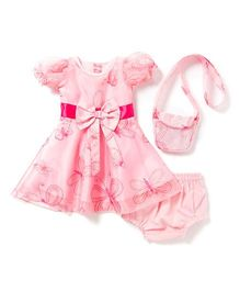 Chicabelle Baby Girls Dress With Matching Bloomer Set - Pink