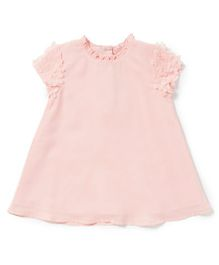 Chicabelle Girls Dress With Cut Flowers On Sleeves - Pink
