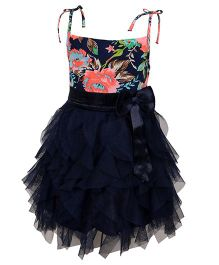 Chicabelle Elegant Party Dress With Bow - Navy Blue