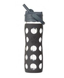 Lifefactory Glass Bottle with Straw Cap and Silicone Sleeve Grey - 650 ml