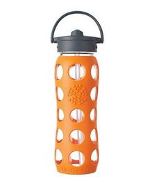 Lifefactory Glass Bottle with Straw Cap and Silicone Sleeve Orange - 650 ml