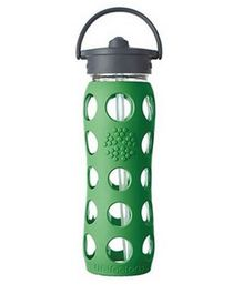 Lifefactory Glass Bottle with Straw Cap and Silicone Sleeve Green - 650 ml