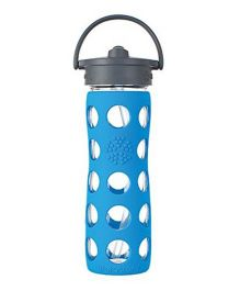 Lifefactory Glass Bottle with Straw Cap and Silicone Sleeve blue - 475 ml