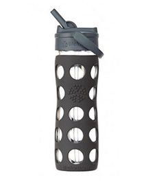 Lifefactory Glass Bottle with Straw Cap and Silicone Sleeve Grey - 475 ml