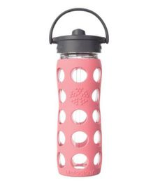 Lifefactory Glass Bottle with Straw Cap and Silicone Sleeve Pink - 475 ml