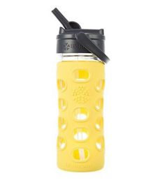 Lifefactory Glass Bottle with Straw Cap and Silicone Sleeve Yellow - 350 ml