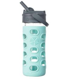 Lifefactory Glass Bottle with Straw Cap and Silicone Sleeve Green - 350 ml