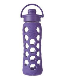 Lifefactory Glass Bottle with Flip Cap and Silicone Sleeve Purple - 650 ml