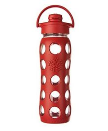 Lifefactory Glass Bottle with Flip Cap and Silicone Sleeve Red - 650 ml