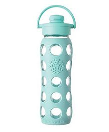 Lifefactory Glass Bottle with Flip Cap and Silicone Sleeve Green - 650 ml