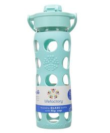 Lifefactory Glass Bottle with Flip Cap and Silicone Sleeve Turquoise - 475 ml