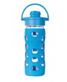 Lifefactory Glass Bottle with Flip Cap and Silicone Sleeve Blue - 350 ml