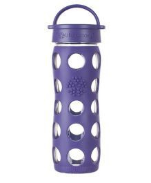Lifefactory Glass Bottle with Classic Cap and Silicone Sleeve Purple - 475 ml