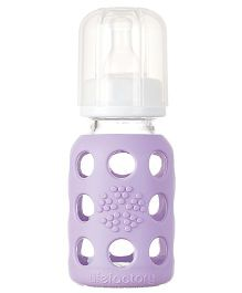 Lifefactory Glass Baby Bottle with Silicone Sleeve and Stage 1 Nipple Mauve - 120 ml