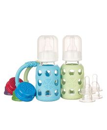 Lifefactory Two-Bottle Starter Set With Teethers Blue and Green - 120 ml