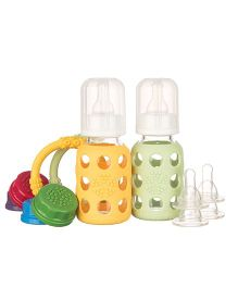 Lifefactory Two-Bottle Starter Set With Teethers Yellow and Green - 120 ml