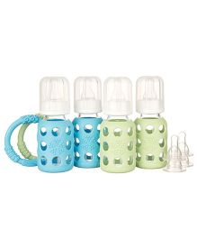 Lifefactory Four Bottle Starter Set With Teethers Blue and Green - 120 ml