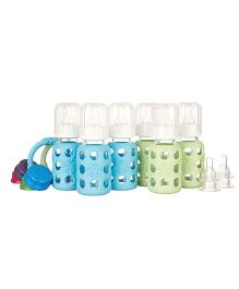 Lifefactory Six Bottle Starter Set With Teethers Blue and Green - 120 ml