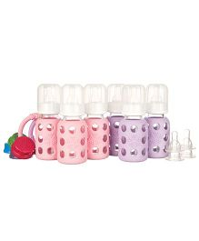 Lifefactory Six Bottle Starter Set With Teethers Pink and Mauve - 120 ml