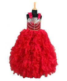 The Wild Cat Flared Gown Embellished With Studs - Red