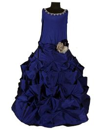 The Wild Cat Flared Gown With Flowers - Blue