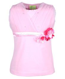 Cutecumber Party Wear Top Embellished With Rhinestone Floral Applique - Pink