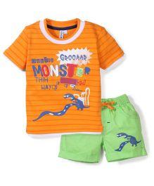 Mickey Half Sleeves T-Shirt And Shorts Monster Print - Orange And Green