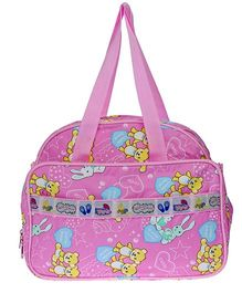 JG Shoppe Cutesy Baby Bag Teddy and Bunny Print - Pink