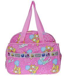 JG Shoppe Cutesy Baby Bag Teddy and Bunny Print - Pink