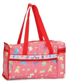 1st Step Diaper Bag With Insulated Bottle Holder Multi Print - Red