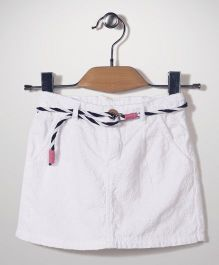 Vitamins Skirt With Belt Hakoba Pattern - White