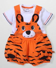 WOW Dungaree With Half Sleeves T Shirt - White And Orange