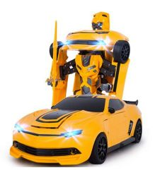 Flyers Bay Troopers Remote Control Transforming Car Cum Robot Simulation Model With Sound And Light - Yellow