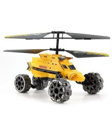 Flyers Bay Warship Helicopter Cum Car With Air Flight Landslide Fire Missiles - Yellow And Grey