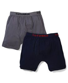 Cucumber Solid Color Set Of 2 Trunk Briefs - Navy & Grey